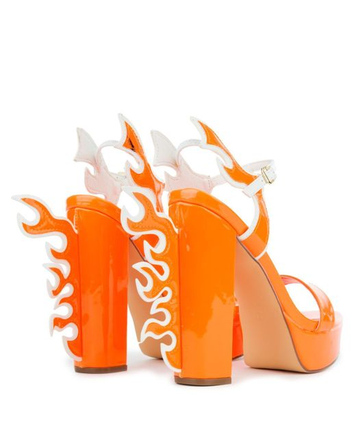 94169890a291 ... LILIANAS SHOES - Orange Chunky Heel With Flames - Lyst ...