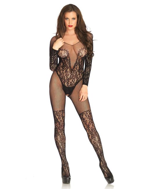 Leg Avenue - Black Vine Lace And Net Long Sleeved Bodystocking - Lyst