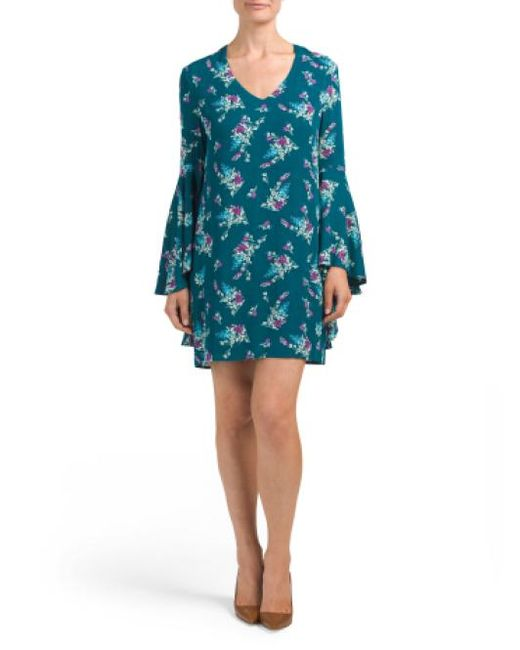 Tj Maxx - Blue Wide Bell Sleeve V-neck Shift Dress - Lyst