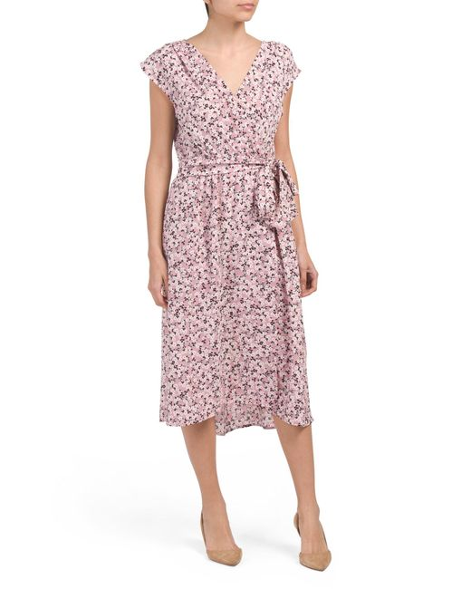 852689a9e73f Tj Maxx Floral Printed Bubble Crepe Midi Dress in Purple - Lyst