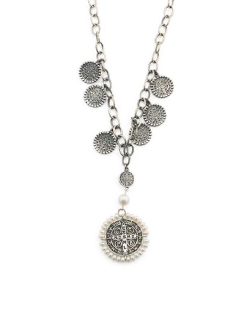 Tj Maxx - Metallic Handmade In India Sterling Silver Pearl Pax Rosary Necklace - Lyst