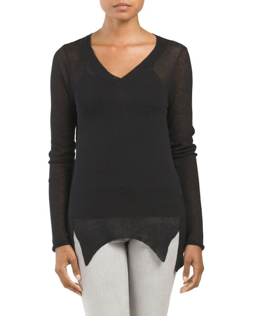Tj Maxx Front Slit Sweater In Black Lyst