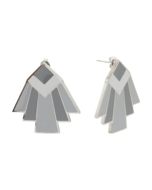 Tj Maxx | Gray Designed In Uk Monochrome Deco Stud Earrings | Lyst