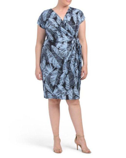 9df53037fba39 Lyst - Tj Maxx Plus Palm Leaf Wrap Dress in Blue