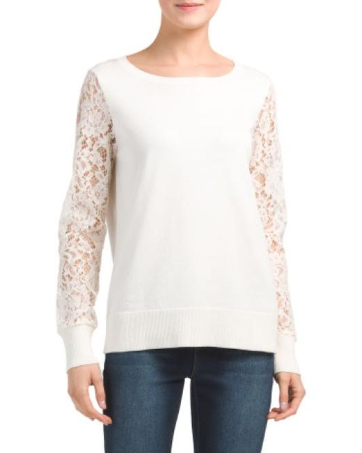 Tj Maxx - White Lace Sleeve Sweater - Lyst