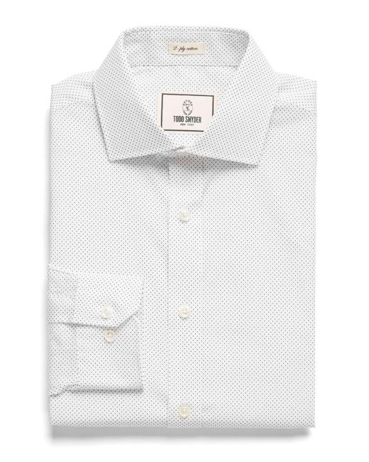 Todd Snyder - Spread Collar Dress Shirt In White Pindot for Men - Lyst