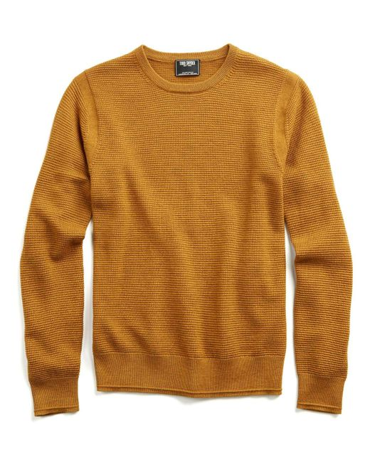 Todd snyder Italian Merino Thermal Crewneck Sweater In Mustard ...