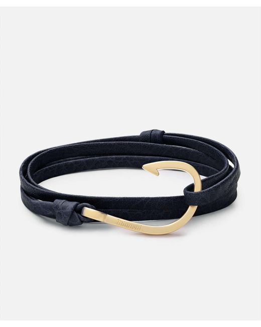 Miansai - Blue Hook Navy Leather Bracelet Matte Gold - Lyst