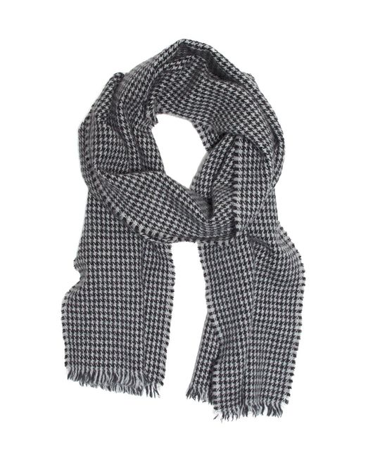Drake's - Gray Lightweight Houndstooth Twill Scarf In Grey for Men - Lyst