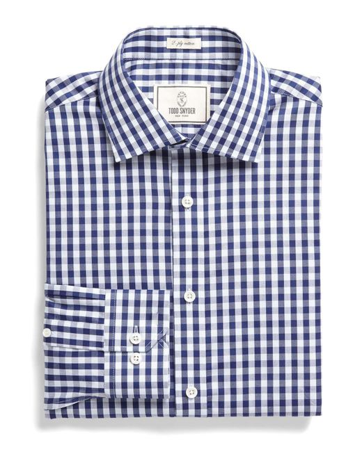 Todd Snyder - Blue Dress Shirt In Navy Bold Gingham for Men - Lyst