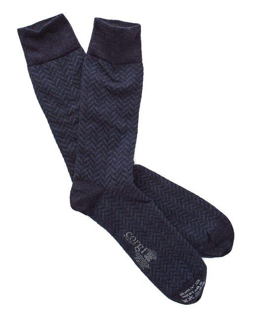 Corgi - Blue Herringbone Socks In Navy for Men - Lyst