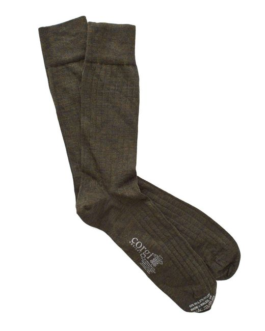 Corgi - Green Solid Olive Dress Socks for Men - Lyst