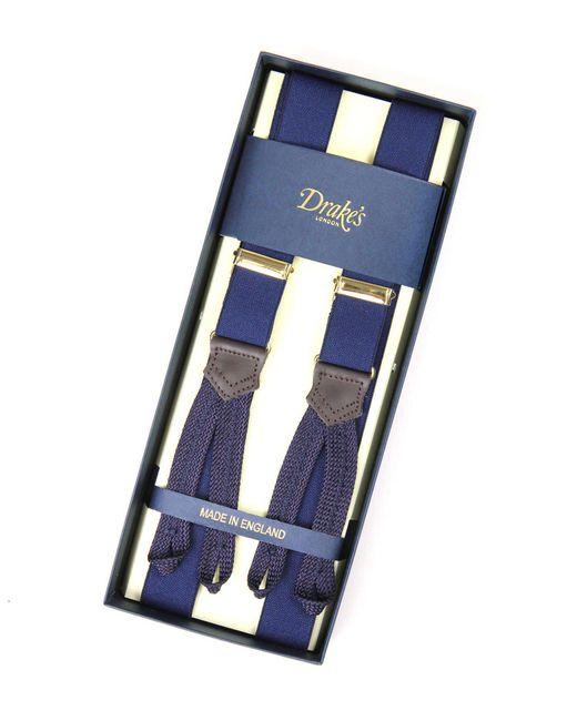 Drake's - Blue Navy Suspenders for Men - Lyst