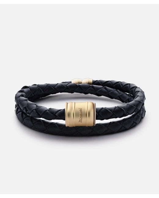 Miansai - Blue Leather Matte Gold Casing Bracelet for Men - Lyst