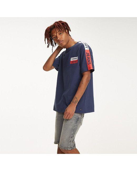 eb585030 Tommy Hilfiger - Blue Shoulder Logo Cotton T-shirt for Men - Lyst ...