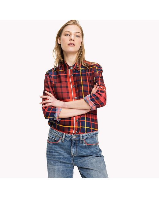 Tommy Hilfiger | Red Tommy Tartan Silk Blouse | Lyst