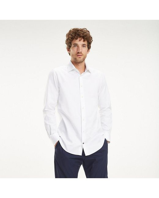 e6ee68b0 ... Tommy Hilfiger - White Cotton Dobby Shirt for Men - Lyst ...