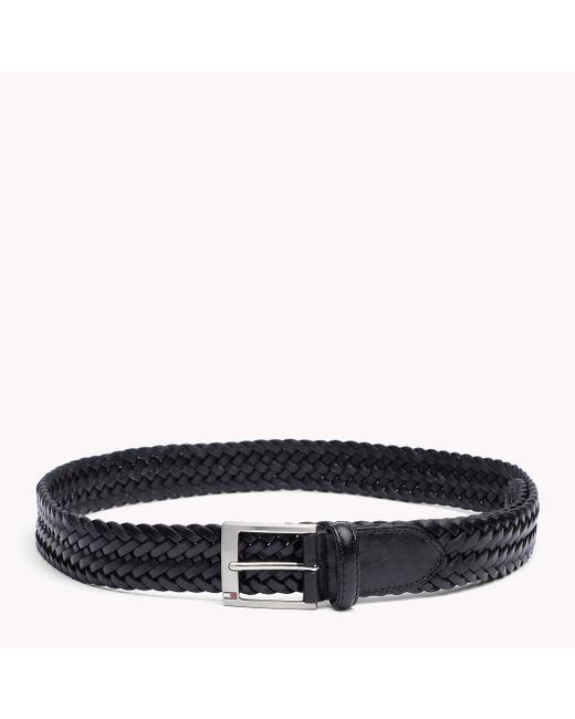 Tommy Hilfiger | Black Braided Leather Belt for Men | Lyst