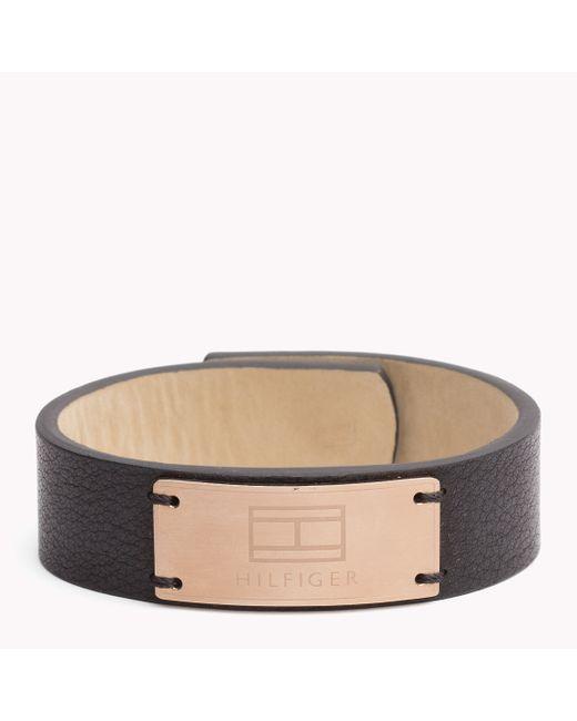 Tommy Hilfiger | Black Leather Cuff | Lyst