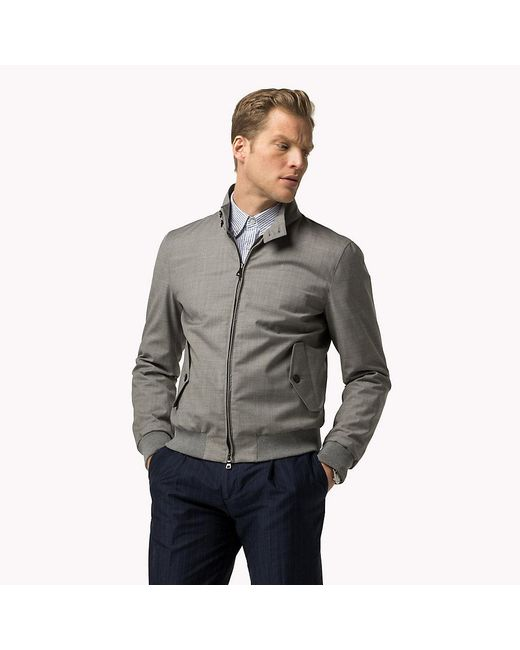 Tommy Hilfiger | Gray Technical Wool Bomber for Men | Lyst