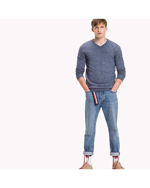 Tommy Hilfiger | Blue Cotton V-neck Jumper for Men | Lyst