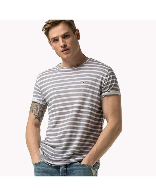 Tommy Hilfiger | Gray Striped T-shirt for Men | Lyst