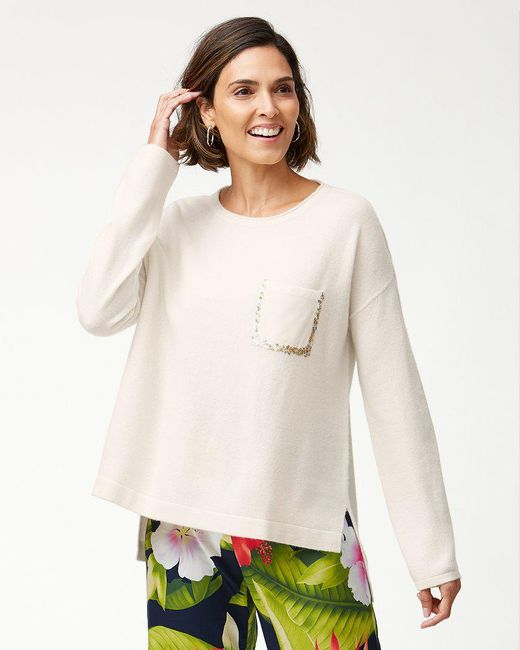 Tommy Bahama - Natural Serena Sequin Pocket Sweater - Lyst