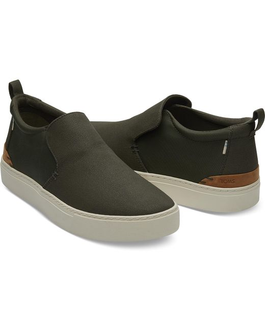 67c4347950f914 ... TOMS - Green Water Resistant Tarmac Olive Textural Canvas Nylon Men's  Paxton Slip-ons for
