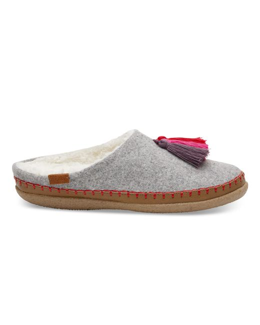 TOMS | Gray Drizzle Grey Wool Women's Ivy Slippers | Lyst