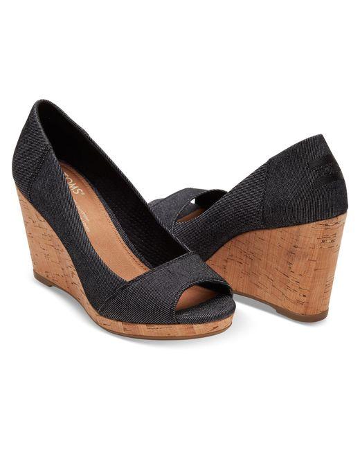 Toms Black Denim Women S Stella Peep Toe Wedges In Black
