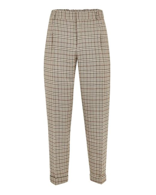 Topman Natural Stone Check Tapered Dress Pant For Men Lyst