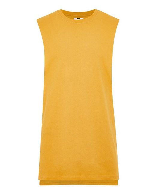 Topman - Yellow Drop Side Tank for Men - Lyst