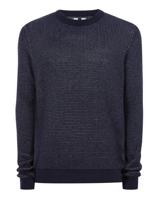 Topman   Blue Navy Birdseye Textured Sweater for Men   Lyst
