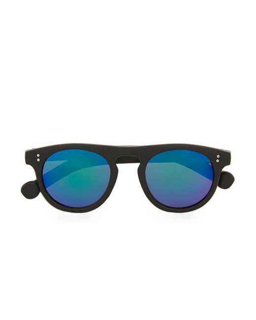 Topman - Black Flat Top Rounded Sunglasse for Men - Lyst