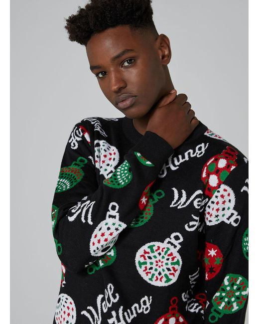 Topman Black Well Hung Sweater in Black for Men   Lyst