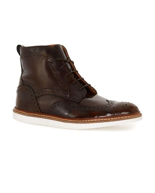 Topman   House Of Hounds Brown Leather Lace Brogue Boots for Men   Lyst