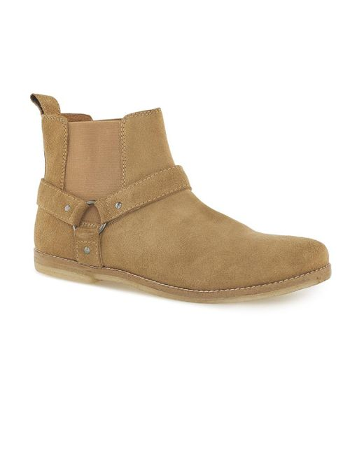 Topman | Yellow Sand Suede 'harness' Chelsea Boots for Men | Lyst