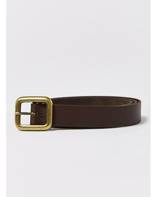 Topman - Brown Skinny Leather Belt With Brushed Gold Buckle Detailing In Brow for Men - Lyst