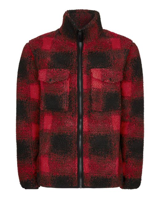 Topman - Red Check Borg Jacket for Men - Lyst