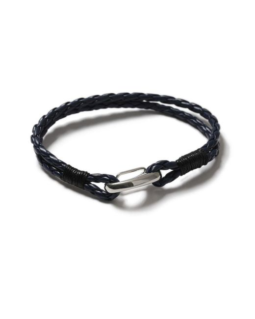Topman - Blue Navy Leather Bracelet for Men - Lyst