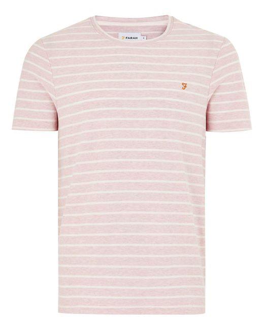 Topman - Farah Pink Striped 'salford' T-shirt for Men - Lyst