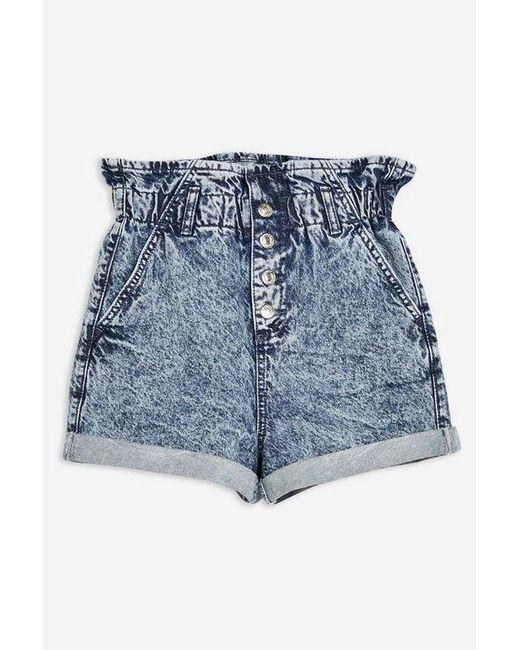 772d049f966ea ... TOPSHOP - Blue Acid Wash Paperbag Denim Shorts - Lyst