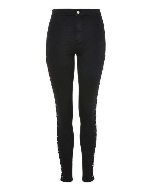 TOPSHOP | Black Moto Side Lace-up Joni Jeans | Lyst