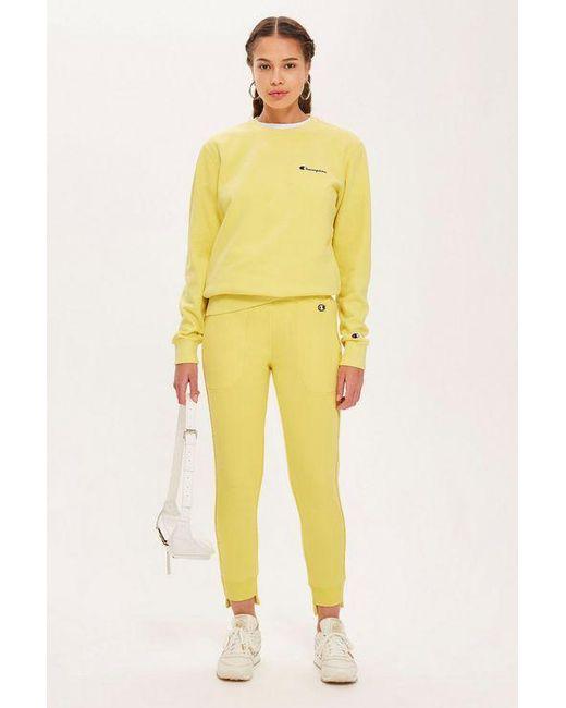 40144ad1c77 Champion Small Script Logo Sweatshirt By in Yellow - Save 50% - Lyst