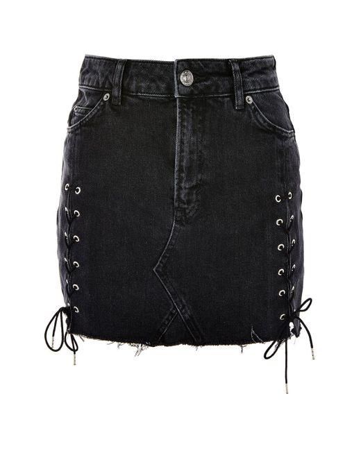 TOPSHOP | Black Moto Lace Up Denim Mini Skirt | Lyst