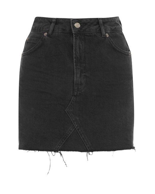 TOPSHOP | Black Moto Denim Mini Skirt | Lyst