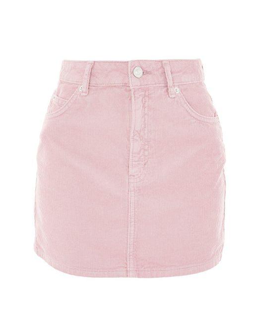 TOPSHOP | Moto Pink Cord Mini Skirt | Lyst