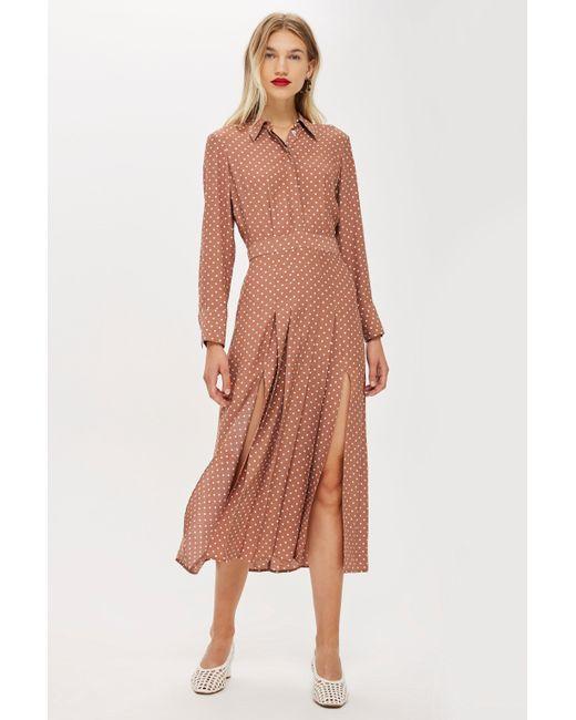 TOPSHOP - Brown Petitespot Shirtdress - Lyst