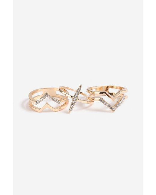 TOPSHOP - Multicolor stone And Shape 3 Pack Rings - Lyst