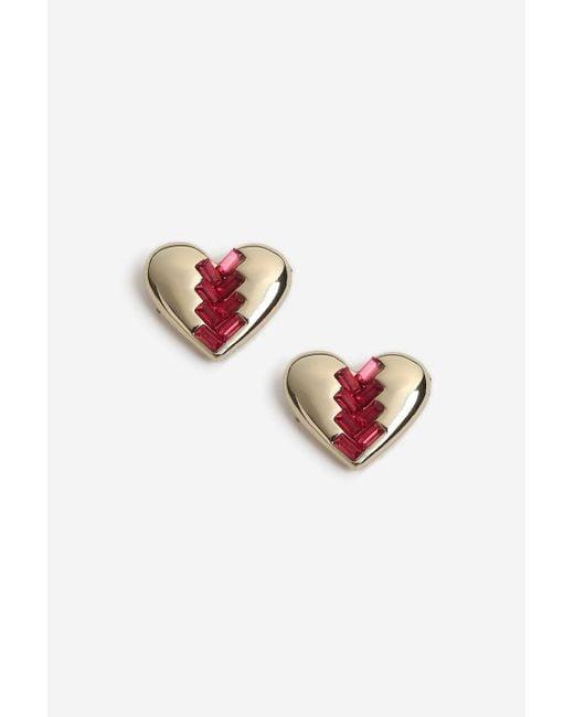 TOPSHOP - Pink Heart Rhinestone Stud Earrings - Lyst